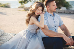 Wedding portrait of bride and groom outdoors in summer Stock Photo