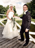 Wedding portrait bridge Royalty Free Stock Images