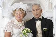 Wedding portrait of an elderly couple Royalty Free Stock Image