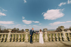 Wedding portrait of happy stylish newlywed bride and groom posing at old stone terrace in spring park with amazing Stock Photos