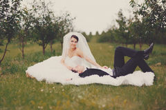 Wedding portrait of a young couple Royalty Free Stock Photo