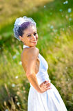 Wedding portraits. A beautiful young bride, just married royalty free stock photos