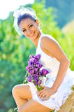 Wedding portraits. A beautifull young bride, just married royalty free stock images