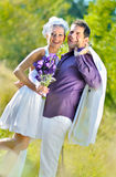 Wedding portraits. Husband and bride, just married stock images