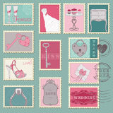 Wedding Postage Stamps. Or design and scrapbook Royalty Free Stock Photography