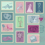 Wedding Postage Stamps. In vector Stock Photos