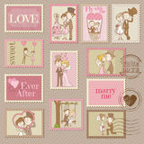 Wedding Postage Stamps Stock Images