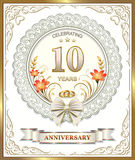 Wedding postcard with a 10 anniversary. Wedding card with a 10 th anniversary in the decoration vector illustration