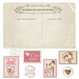 Wedding Postcard and Postage Stamps Stock Photo