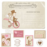 Wedding Postcard and Postage Stamps vector illustration