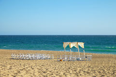 Wedding preparation on beach. Against a background of beautiful sea and blue sky. Malibu California Stock Photography
