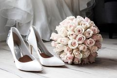 Wedding Preparation and Bouquet of Flowers royalty free stock photos