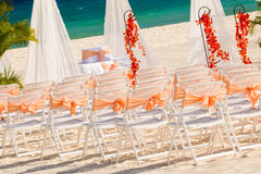 Wedding preparation on Mexican beach Stock Images