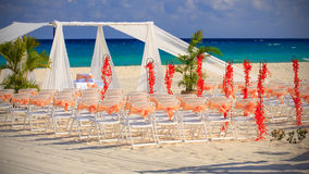 Wedding preparation on Mexican beach Stock Image