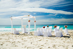 Wedding preparations outdoors, at tropical sandy beach Royalty Free Stock Image