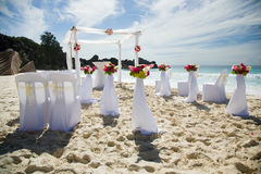 Wedding preparations outdoors, at tropical sandy beach Stock Photography