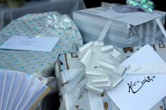 Wedding Presents for the Bride and Groom. Wrapped wedding presents for the bride and groom, Kristin and Saja Stock Images