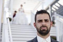 Wedding primeiramente o olhar fotografia de stock