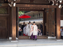 Wedding procession in Meiji Shrine, Tokyo Japan. Priests lead the way as a wedding procession moves through Meiji Shrine. The bride and groom are just visible Stock Photography