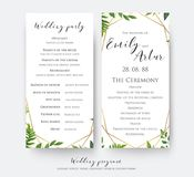 Wedding program card for ceremony and party with modern vector,. Floral, botanical design with green forest fern leaves, greenery border and elegant, golden Royalty Free Stock Photography