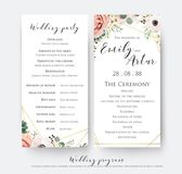 Wedding program for party & ceremony card design with elegant la. Vender pink garden rose, anemone, wax flowers, eucalyptus branches, leaves & cute golden vector illustration