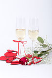 Wedding proposal with champagne and ring Royalty Free Stock Image