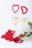Wedding proposal with champagne and ring Stock Photo