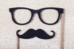 Wedding props mustache and glasses Stock Images