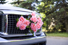 Wedding props, wedding rings, flowers, wedding decoration, items, rings, decorations on the car royalty free stock photo