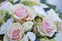 Wedding props, rings, flowers, wedding decoration, details Stock Image