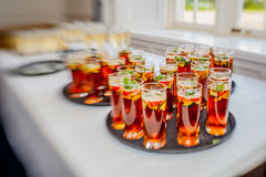 Wedding punch. Glasses containing wedding punch to be served for guests royalty free stock photo