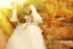 Wedding.  Radial zoom blur effect defocusing filter applied, wit Stock Photography