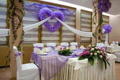 Wedding reception. Table setting at a luxury wedding reception, place ready for guests stock photo