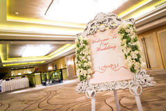 Wedding reception. A welcome sign at a wedding reception Royalty Free Stock Photo