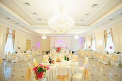 Wedding reception area ready for dinner Royalty Free Stock Photos