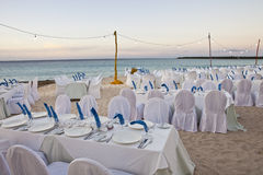 Wedding reception on the beach Stock Image
