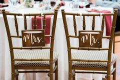 Wedding Reception Bride and Groom Chairs Mr. Mrs. stock photos