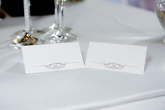 Wedding reception card. Wedding reception name card to reserve place in the evening Royalty Free Stock Image