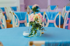 Wedding reception decor. Wedding altar decorated with flowers and perls Stock Image