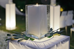 A wedding reception decorated with candles Stock Image