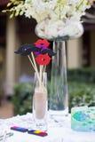 Wedding reception. Decorations at an outdoor wedding reception Stock Photos