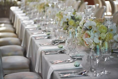 Wedding reception with floral arrangement of white orchids.  Stock Photos