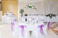 Wedding Reception Flowers and Cake Royalty Free Stock Photography