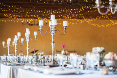 Wedding Reception Hall With Decor Including Candles, Cutlery And Stock Photography