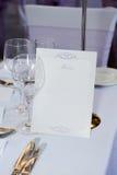 Wedding reception menu Stock Photo