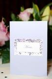 Wedding reception menu Royalty Free Stock Image