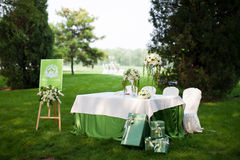 Wedding reception. At an outdoor wedding party Stock Photography
