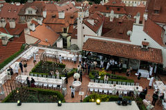 Wedding reception over the rooftops in Prague Royalty Free Stock Photography