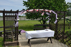Wedding reception overview. Outdoor in nature Stock Photography