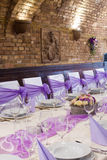 Wedding reception place ready to receive guests Stock Photos